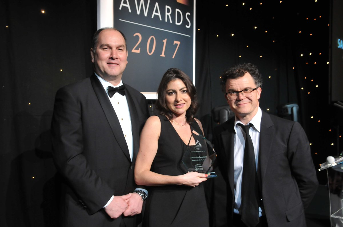 Icsa the governance institute celebrates the rise of governance at company secretary of the year winner sarah mclaughlin of allied irish banks plc with jeff hilk from diligent and blueprint oneworld sponsor of the award malvernweather